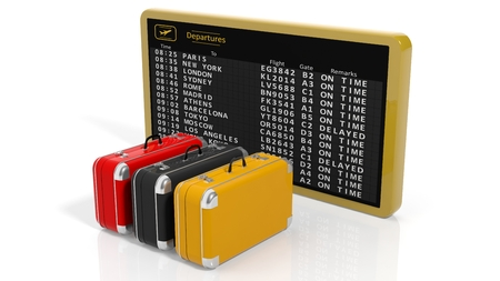 luggage pieces: Airport timetable with three pieces of luggage on white background
