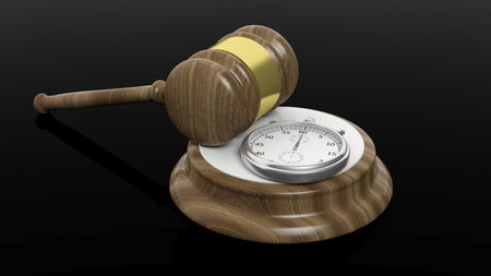 3D rendering of wooden gavel and chronometer, isolated on black  background.
