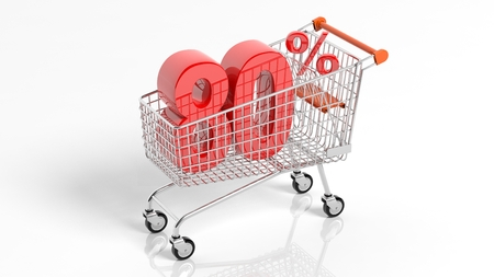 3D rendering of shopping cart trolley with 80 percent sale on white background.Isolate Stock Photo