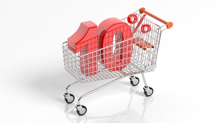 3D rendering of shopping cart trolley with 10 percent sale on white background.Isolate