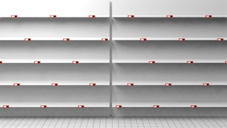 shelf: 3D rendering of empty silver shelves in supermarket with price tags
