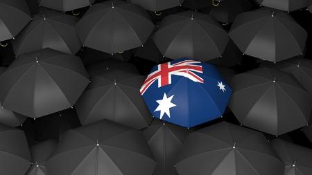 bandera de nueva zelanda: 3D representa paraguas negros con el paraguas brillante con la bandera de Nueva Zelanda sobre ella
