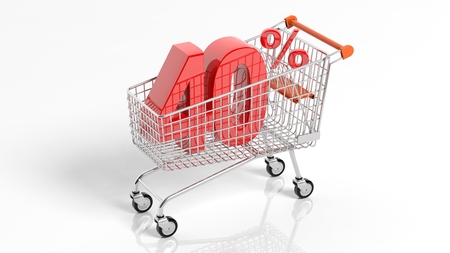 3D rendering of shopping cart trolley with 40 percent sale on white background.Isolate