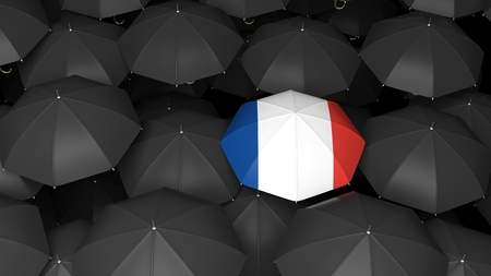 ones: Top view of 3d rendered umbrella with french flag over black ones