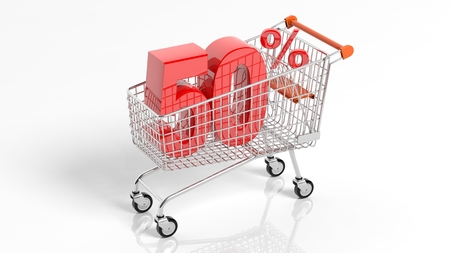 3D rendering of shopping cart trolley with 50 percent sale on white background.Isolate Stock Photo
