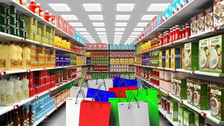 foreground: 3D rendering of variety of food on shelves with colorful shopping bag on foreground
