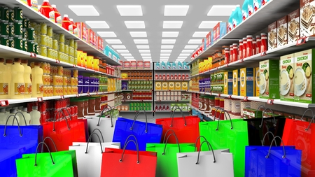 variety: 3D rendering of variety of food on shelves with colorful shopping bag on foreground