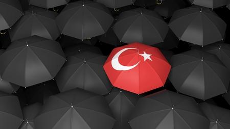 pavo: Vista superior de 3D prestados paraguas turca sobre fondo negro paraguas