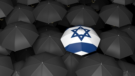 jews: Top view of 3d rendering of umbrella with jewish flag on black umbrellas