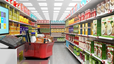 grocery shelves: 3D rendering of supermarket with big choice of products on shelves.Shopping basket at checkout. Stock Photo