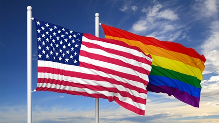 3d rainbow: 3d rendering rainbow colors flag with USA flag Stock Photo