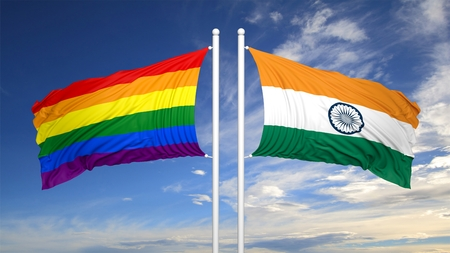 3d rainbow: 3d rendering rainbow colors flag with India flag Stock Photo
