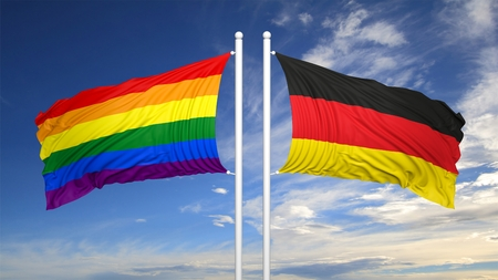 3d rendering rainbow colors flag with Germany flag