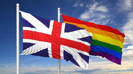 3d rainbow: 3d rendering rainbow colors flag with UK flag Stock Photo