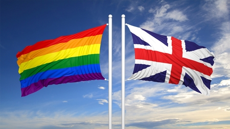 3d rendering rainbow colors flag with UK flag Stock Photo