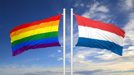 3d rendering rainbow colors flag with Netherlands flag Stock Photo