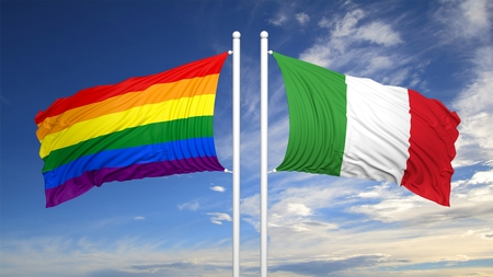 3d rendering rainbow colors flag with Italy flag Stock Photo