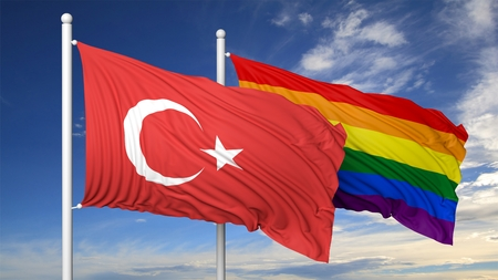 3d turkey: 3d rendering rainbow colors flag with Turkey flag Stock Photo