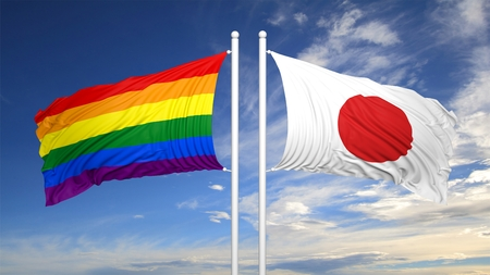 3d rendering rainbow colors flag with Japan flag