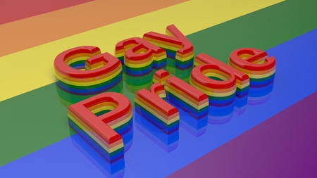 3d rainbow: 3d rendering words gay pride writen on rainbow background Stock Photo