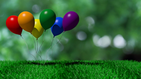 rainbow colors: 3d rendering baloons in rainbow colors