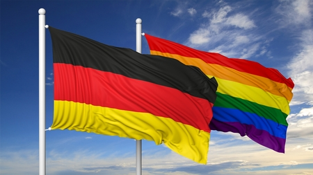 rendering: 3d rendering rainbow colors flag with Germany flag