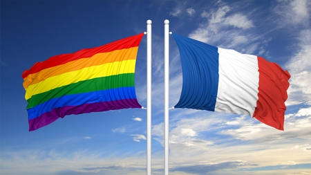 3d rendering rainbow colors flag with France flag