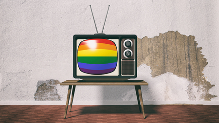 3d rendering old tv with rainbow screen
