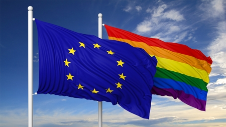 eu flag: 3d rendering rainbow colors flag with EU flag Stock Photo