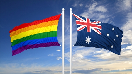 3d rendering rainbow colors flag with Australia flag Stock Photo