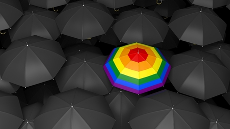 bandera gay: paraguas representación 3D con la bandera gay en fondo negro paraguas Foto de archivo