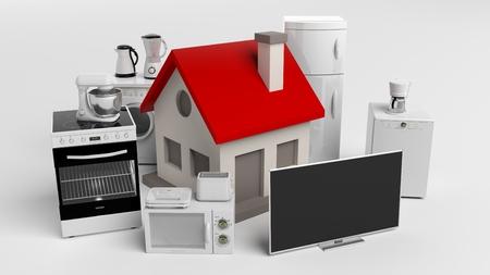 3D-weergave set van huishoudelijke apparaten en een klein huis Stockfoto