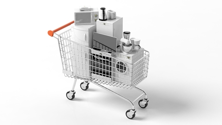 kitchen equipment: 3d rendering set of home appliances in a trolley