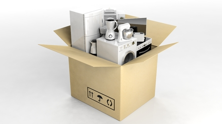 moving box: 3d rendering set of home appliances in a moving box