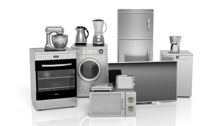 3d rendering set of silver household appliances on white background Standard-Bild