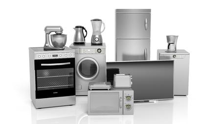 3d rendering set of silver household appliances on white background Stockfoto