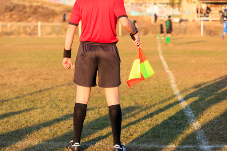 Football assistant referee during a game
