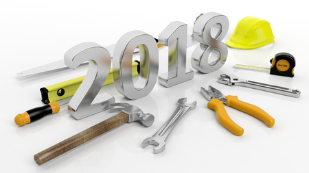 3D rendering Various hand tools with 2018 text, isolated on white background.