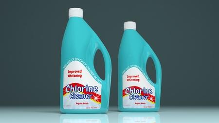 clean bathroom: Chlorine cleaner plastic bottles on colored background. 3d illustration