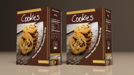 チョコレート クッキーは紙色付きの背景上のパッケージです。3 d イラストレーション