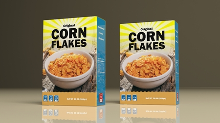 corn flakes: Corn flakes paper packages on colored background. 3d illustration
