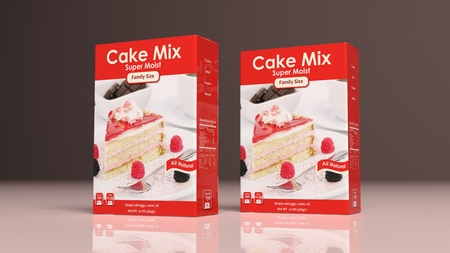cake background: Cake mix paper packages on colored background. 3d illustration