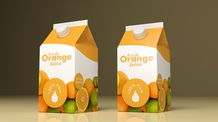orange juice: Orange juice paper packaging on colored background. 3d illustration