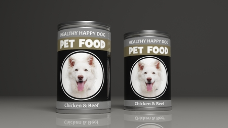 super dog: Dog food metallic cans on colored background. 3d illustration