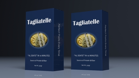 Tagliatelle paper packages on colored background. 3d illustration Stock Photo