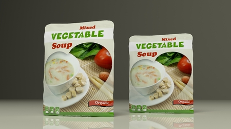 food industry: Vegetables soup packets on colored background. 3d illustration