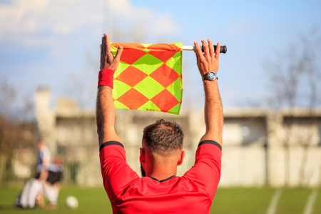 Assistant referee during a football game