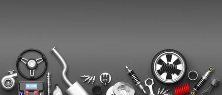 Verschillende auto-onderdelen en accessoires, geïsoleerd op een grijze achtergrond. 3D illustratie Stockfoto