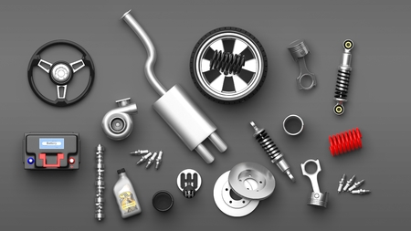 Various car parts and accessories, isolated on gray background. 3d illustration Stockfoto