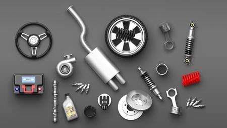 Verschillende auto-onderdelen en accessoires, geïsoleerd op een grijze achtergrond. 3D illustratie